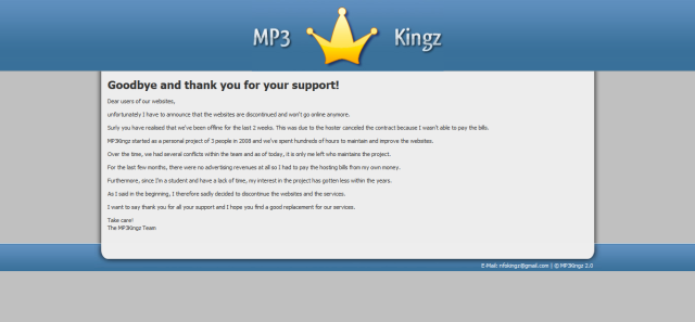 MP3Kingz is discontinued