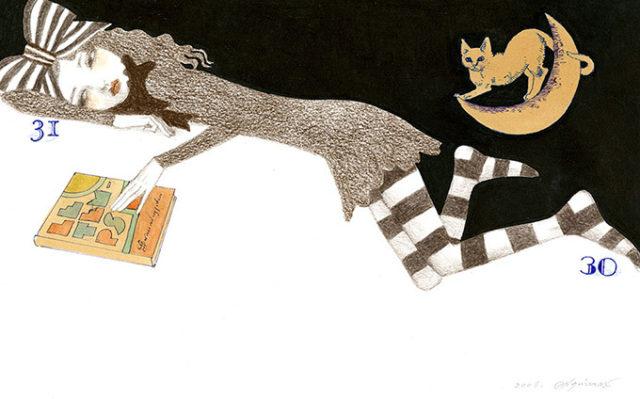「おやすみなさい」DM『おばあさんになった女の子は』より 紙/色鉛筆・水彩 230×367㎜ ©宇野亞喜良