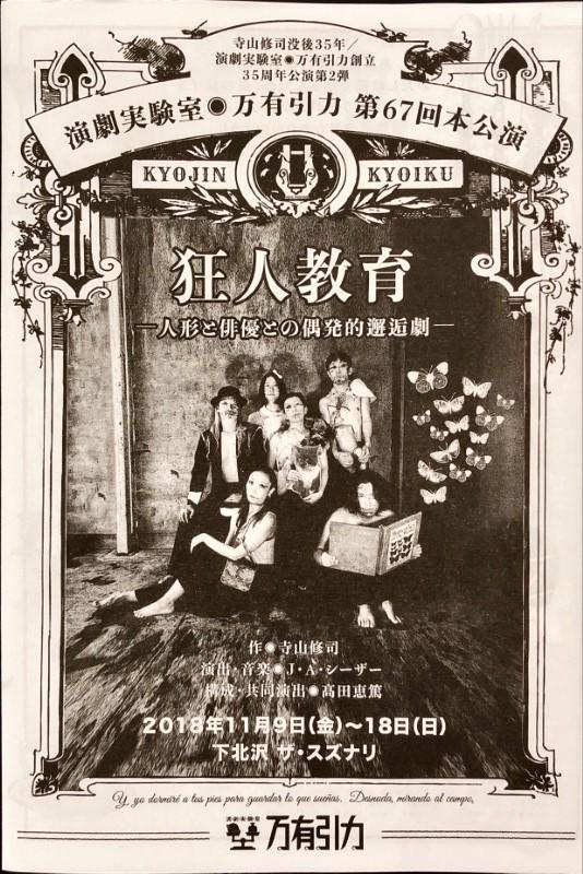 万有引力 狂人教育 -人形と俳優との偶発的邂逅劇-チラシ表紙