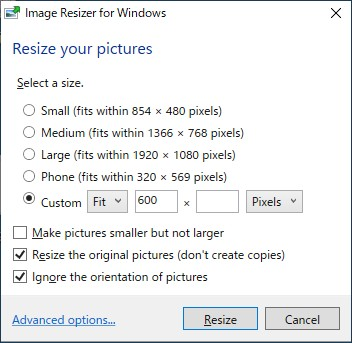Image Resizer for Windows