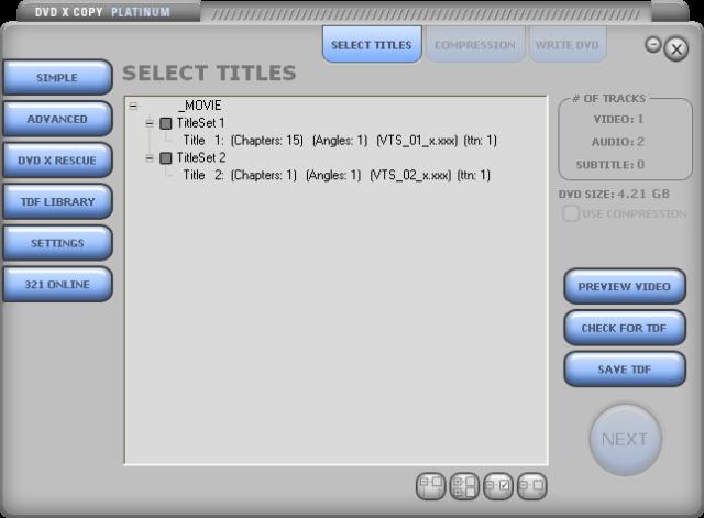 DVDXCopy Platunum GUI 2