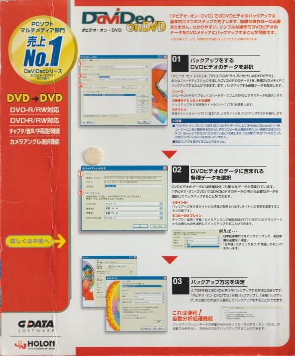 G Data / Holon - DaVideo on DVD package front inside